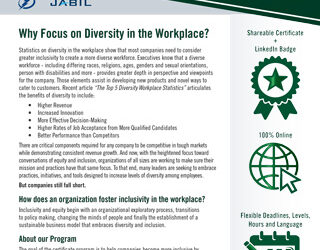 University of South Florida Muma College of Business Offering 7-Week FREE Diversity, Equity and Inclusion in the Workplace Certificate: Register Now, Course Starts March 24th!
